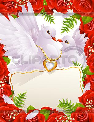 Valentinstagskarte mit Tauben | Stock Vektorgrafik |ID 3199613