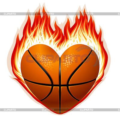 Basketball auf Feuer in Form von Herzen | Stock Vektorgrafik |ID 3230027