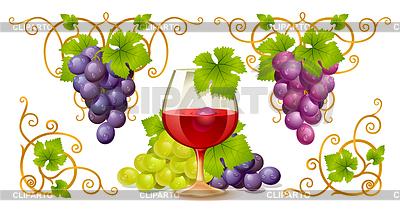 Grape Elemente, Ecken und Weinglas | Stock Vektorgrafik |ID 3230037