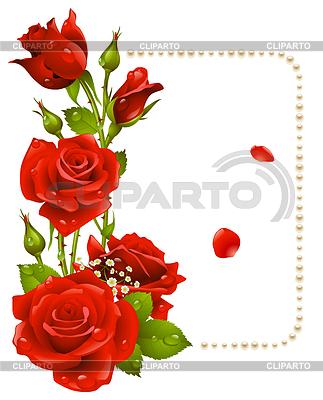 Czerwona róża i pereł ramki | Klipart wektorowy |ID 3230135