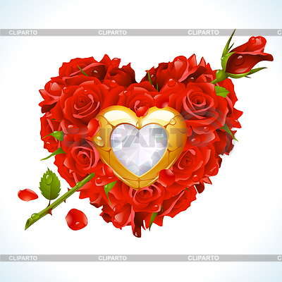 심장의 모양에 빨간 장미와 황금 보석 | 벡터 클립 아트 |ID 3235578