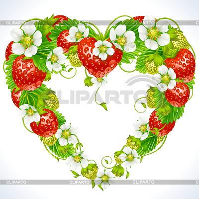 Truskawka ramka w kształcie serca | Klipart wektorowy |ID 3235608