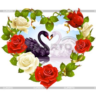 Czerwone róże i pary Swans | Klipart wektorowy |ID 3235792