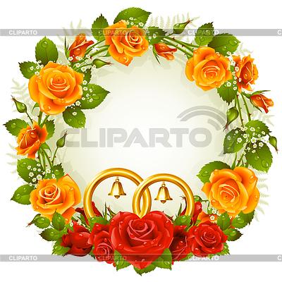 Blumenrahmen von orangefarbenen und roten Rosen | Stock Vektorgrafik |ID 3271237