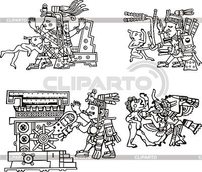 Starożytnych Azteków obrazkowym | Klipart wektorowy |ID 3349771