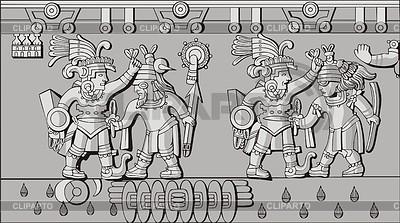 Altes aztekisches Flachrelief | Stock Vektorgrafik |ID 3349779