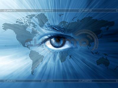 World-Karte und blaue Augen | Foto mit hoher Auflösung |ID 3229499