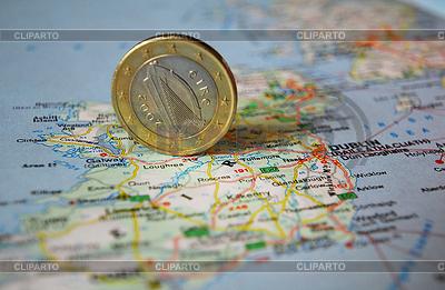 Ирландская монета евро на карте | Фото большого размера |ID 3228114