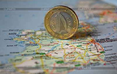 爱尔兰欧元硬币在地图上 | 高分辨率照片 |ID 3228115