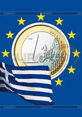 Монета евро и греческий национальный флаг | Фото большого размера |ID 3228117