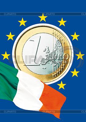 Italienische Euromünze und italienische Nationalflagge | Foto mit hoher Auflösung |ID 3228118