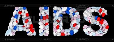 AIDS 단어 : 알약과 정제 모양 | 높은 해상도 사진 |ID 3236889