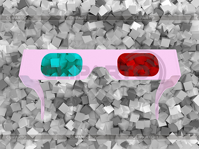 3D glasses and grey cubes | High resolution stock illustration |ID 3237982