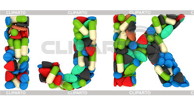 Medical font I J and K pills letters | High resolution stock photo |ID 3238030