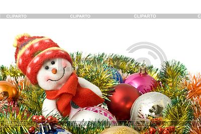 Bożego Narodzenia - Funny biały bałwan i dekoracji | Foto stockowe wysokiej rozdzielczości |ID 3292849