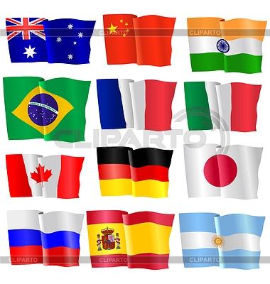 Набор развевающихся флагов | Векторный клипарт |ID 3234934