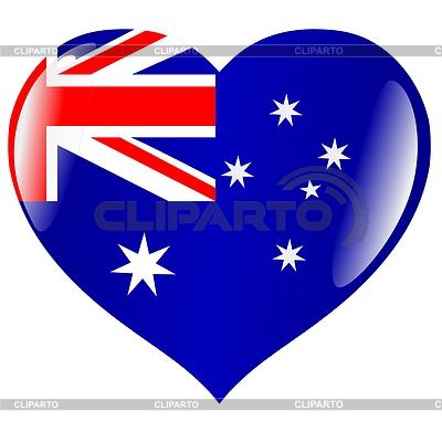 Corazón de la bandera de Australia   Ilustración vectorial de stock