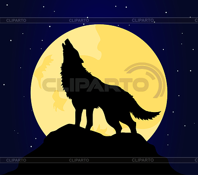 Wolf heult den Mond | Stock Vektorgrafik |ID 3257652