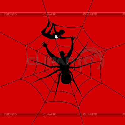 Человек-паук поймал девочку.  Векторная иллюстрация.