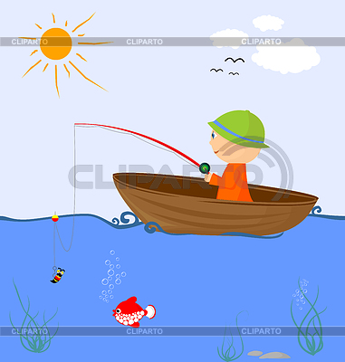 Cartoon Fischer im Boot | Stock Vektorgrafik |ID 3277358