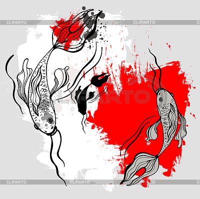 Ryby koi. Japoński styl. Malowanie pędzlem ized | Klipart wektorowy |ID 3288878