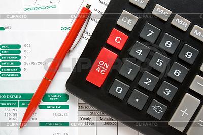 Kalkulator, długopis i raporty finansowe | Foto stockowe wysokiej rozdzielczości |ID 3280629