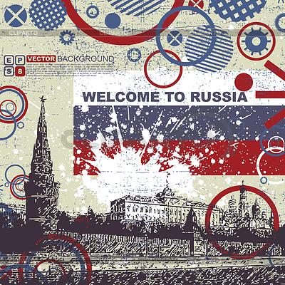 Grunge Postkarte mit Russland Flagge und Kreml | Stock Vektorgrafik |ID 3309126