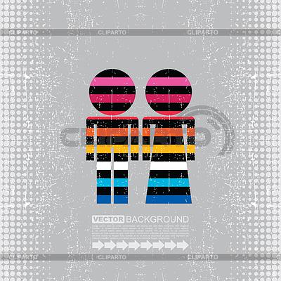 Kolorowe para kobiet i mężczyzn | Klipart wektorowy |ID 3309142