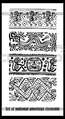 Zestaw - American Indian wzorów krajowych | Klipart wektorowy |ID 3286830