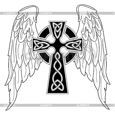 Czarny krzyż ze skrzydłami | Klipart wektorowy |ID 3287649