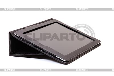 Internet tablet in black leather cover | Foto stockowe wysokiej rozdzielczości |ID 3299243