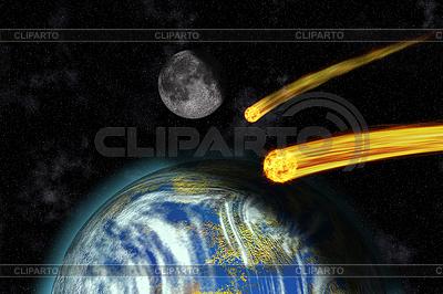 Flaming Asteroiden auf der Erde | Illustration mit hoher Auflösung |ID 3344029