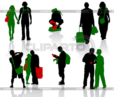 Sylwetki turystów w różnych sytuacjach | Klipart wektorowy |ID 3319206