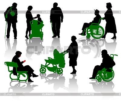 Sylwetki ludzi starych i niepełnosprawnych. | Klipart wektorowy |ID 3320729