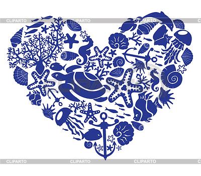 Herz von Fischen, Korallen, Muscheln, Seesternen | Stock Vektorgrafik |ID 3340605