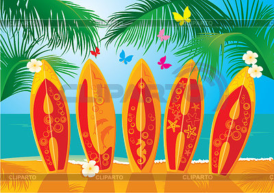 Aloha - Pocztówka Summer Holiday - desek surfingowych | Klipart wektorowy |ID 3340631