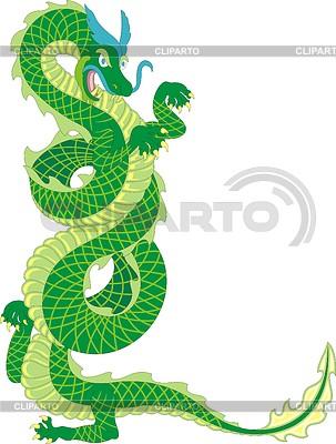 Green standing dragon | Klipart wektorowy |ID 3340431