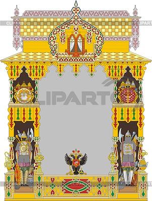 Rosyjski ozdobny dekoracyjny ramka z dwugłowym orłem | Klipart wektorowy |ID 3352405