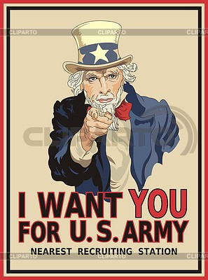 Uncle Sam plakat - I want you for US Army | Klipart wektorowy |ID 3352413