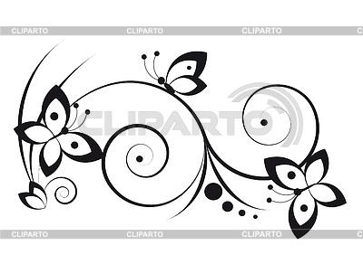 나비와 포도의 잎의 장식 | 벡터 클립 아트 |ID 3352460
