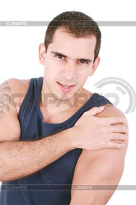 Junge Bodybuilder mit Schulterschmerzen | Foto mit hoher Auflösung |ID 3360728