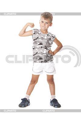Junge zeigt seine Muskeln | Foto mit hoher Auflösung |ID 3371715