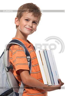 Knabe mit Lehrbüchern | Foto mit hoher Auflösung |ID 3371730
