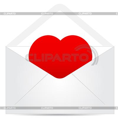 Koperta z czerwonym sercem | Klipart wektorowy |ID 3372937
