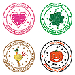 Vector clipart: anniversary stamps for Valentines, St. Patrick, Halloween