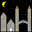 Vector clipart: blocks and houses at night