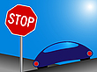 car and stop sign