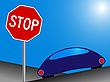 Векторный клипарт: автомобиль и знак стоп