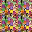 Vector clipart: hexagonal stripes patchwork