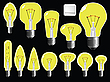 Vector clipart: light bulbs shapes